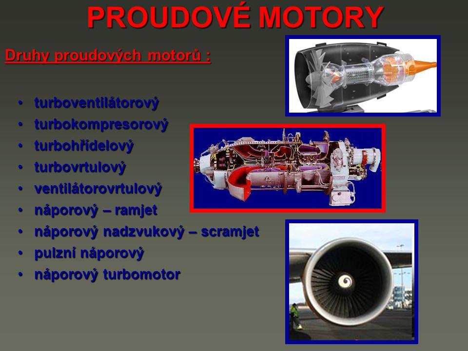 PROUDOVÉ MOTORY Druhy proudových motorů : turboventilátorový
