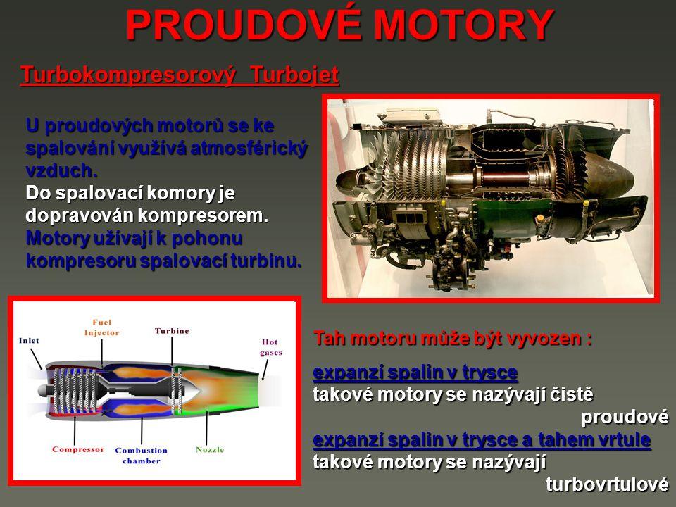 PROUDOVÉ MOTORY Turbokompresorový Turbojet