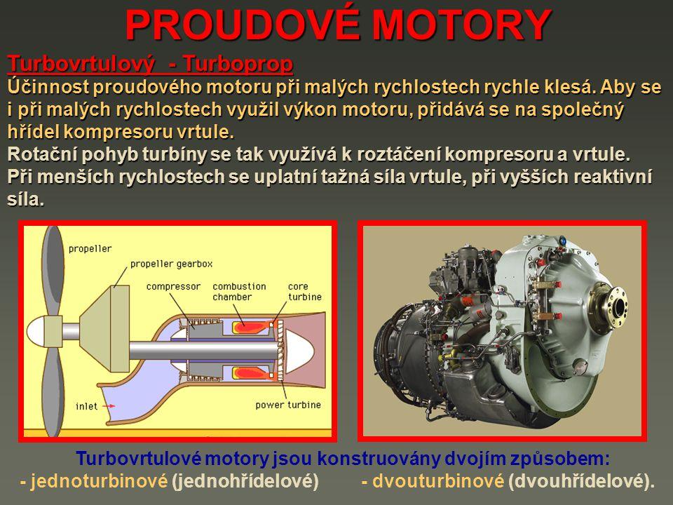 Turbovrtulové motory jsou konstruovány dvojím způsobem: