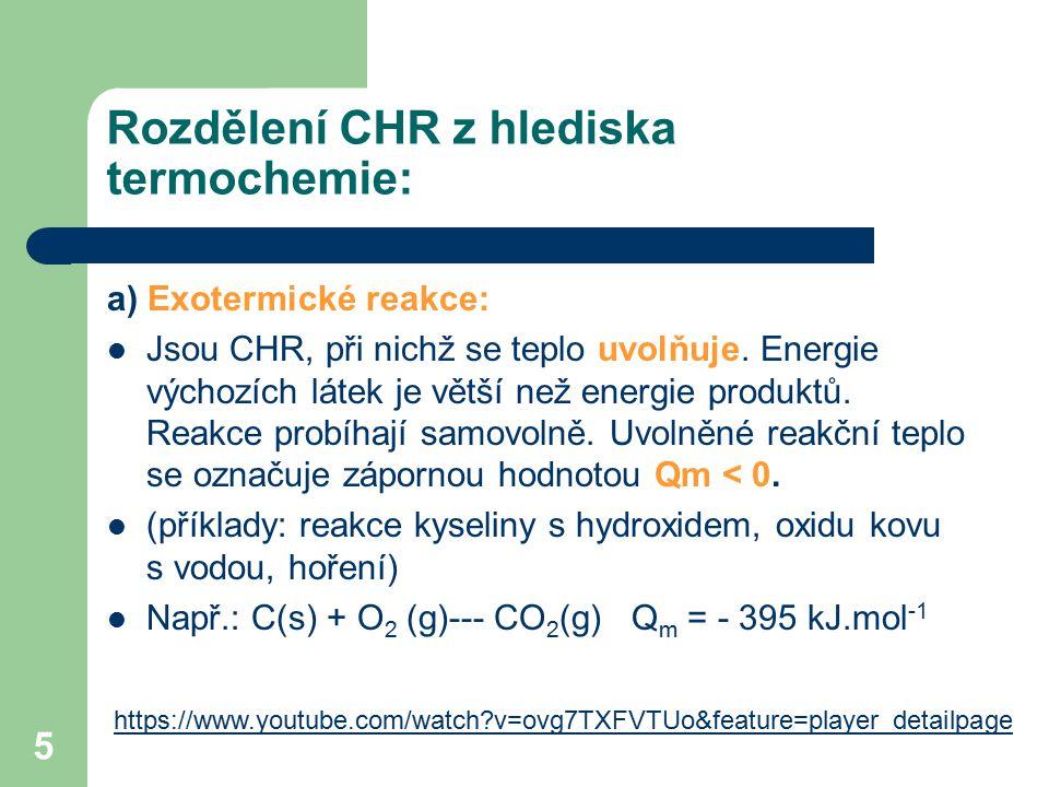 Rozdělení CHR z hlediska termochemie: