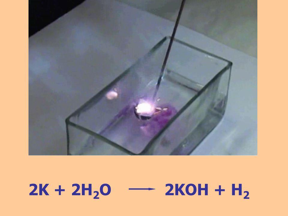 2K + 2H2O 2KOH + H2