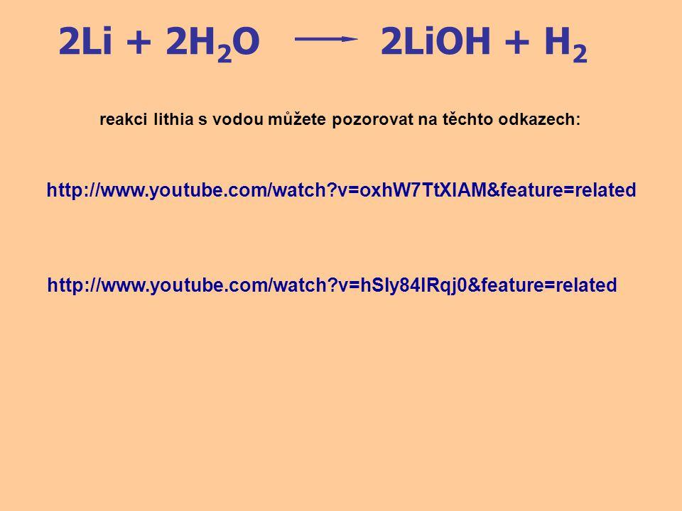 2Li + 2H2O 2LiOH + H2. reakci lithia s vodou můžete pozorovat na těchto odkazech: http://www.youtube.com/watch v=oxhW7TtXIAM&feature=related.