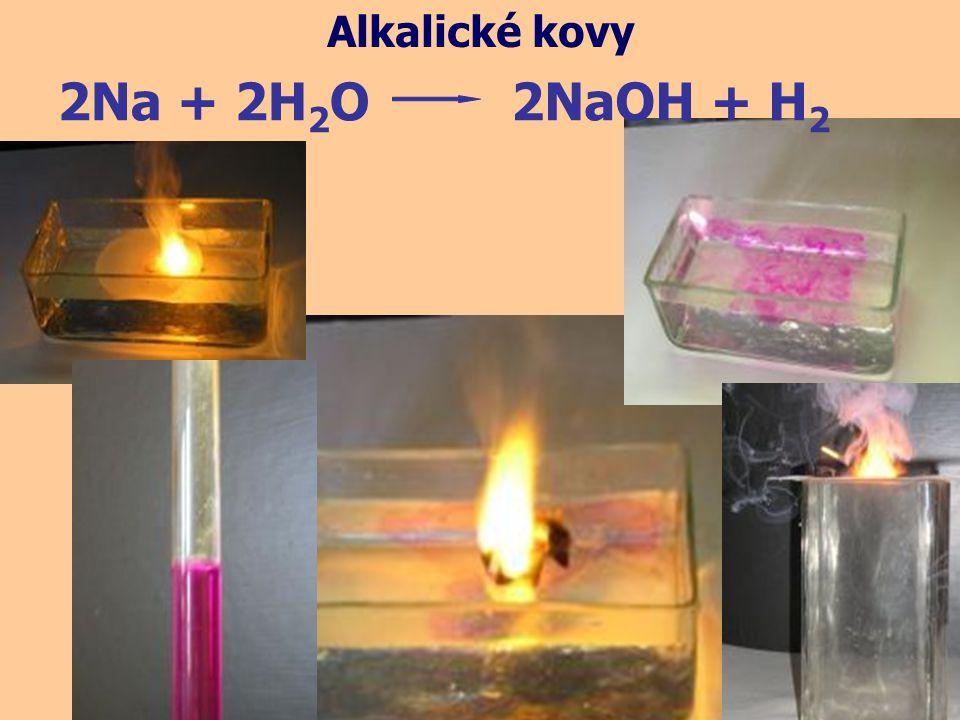 Alkalické kovy 2Na + 2H2O 2NaOH + H2