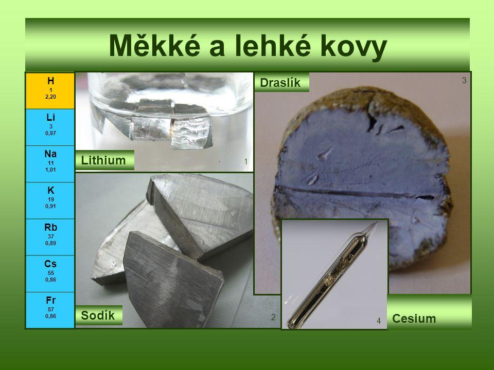 Měkké a lehké kovy Draslík Lithium Cesium Sodík H Li Na K Rb Cs Fr 3 1