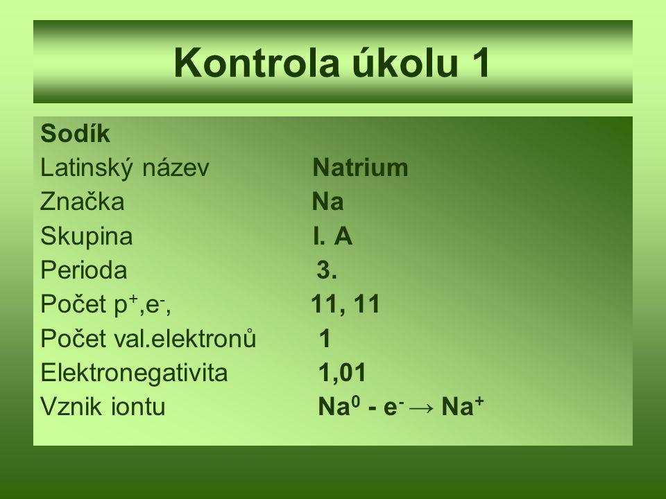 Kontrola úkolu 1 Sodík Latinský název Natrium Značka Na Skupina I. A