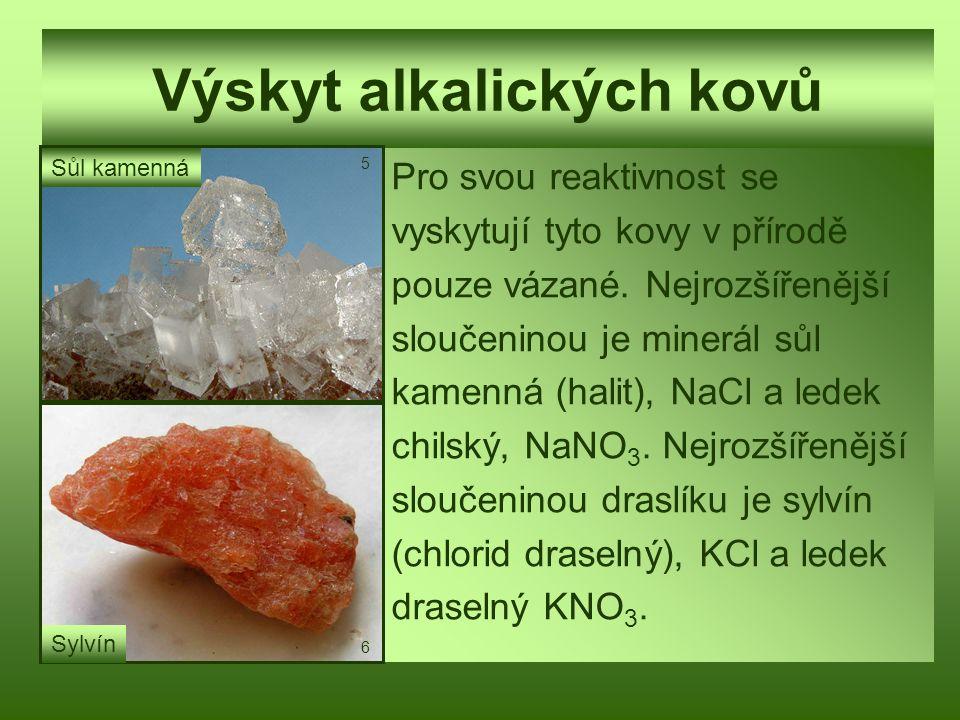 Výskyt alkalických kovů