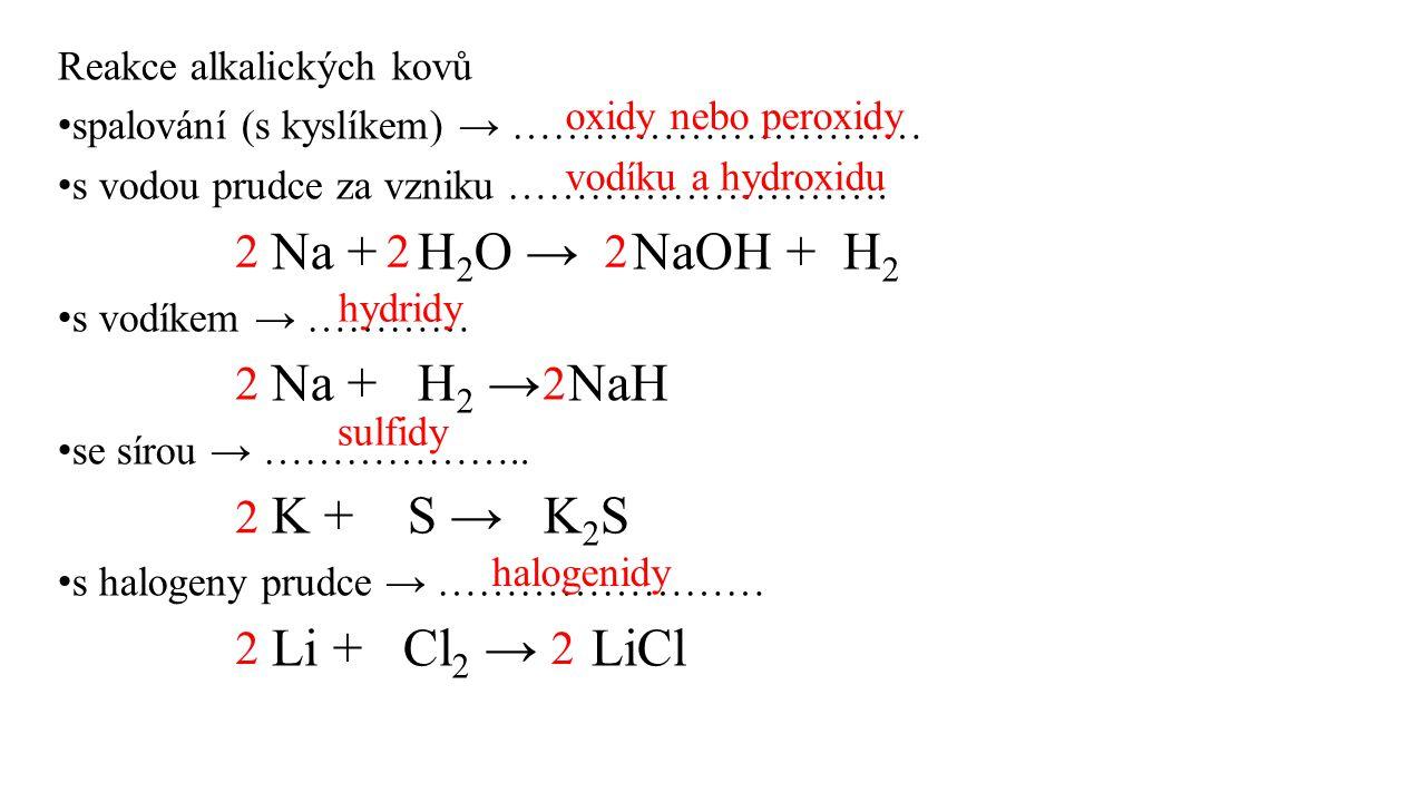 2 2 2 2 2 2 2 2 Reakce alkalických kovů