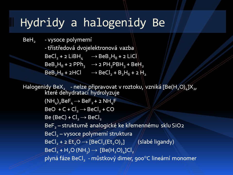 Hydridy a halogenidy Be