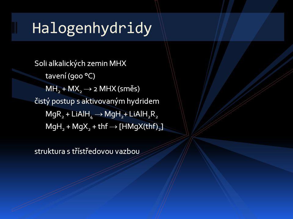 Halogenhydridy Soli alkalických zemin MHX tavení (900 °C)