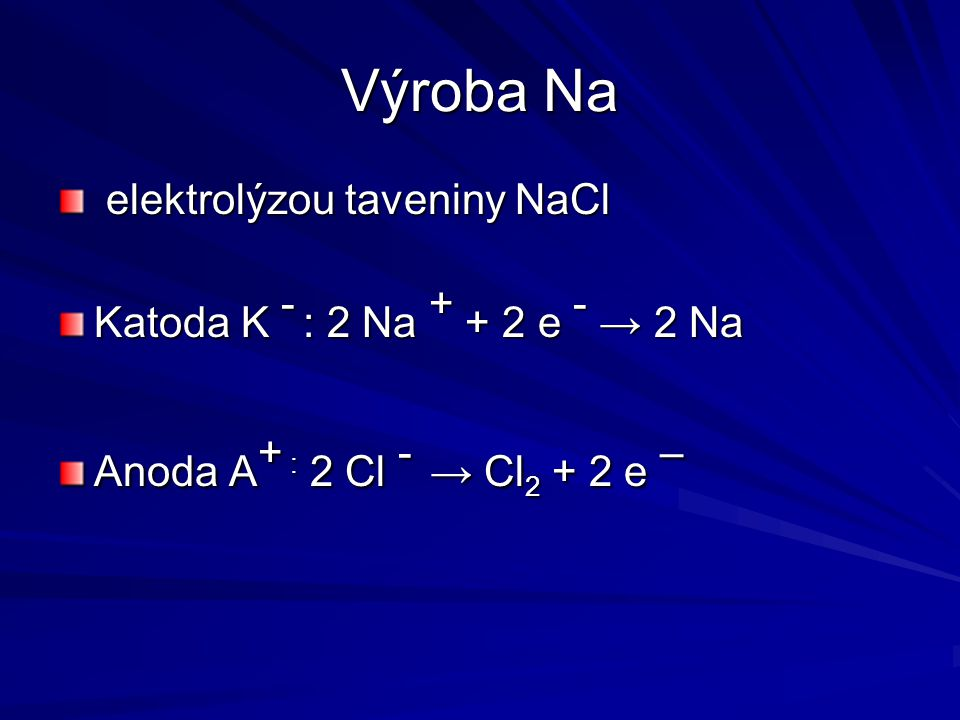 Výroba Na elektrolýzou taveniny NaCl