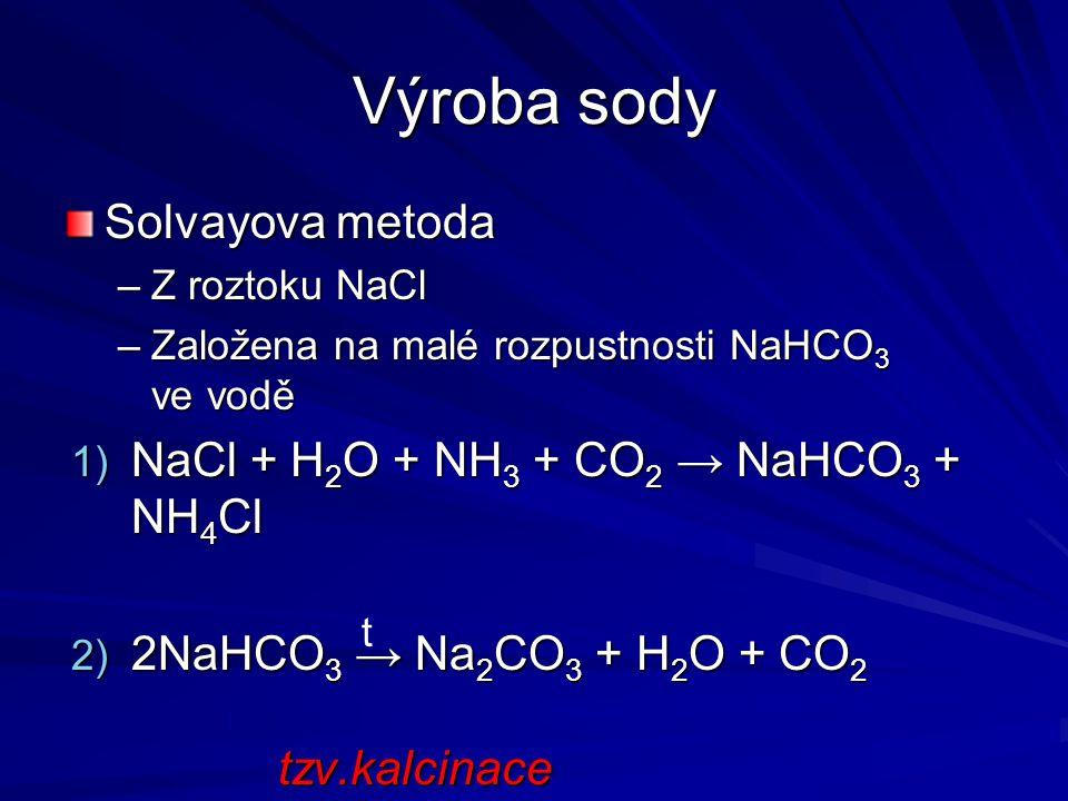 Výroba sody Solvayova metoda NaCl + H2O + NH3 + CO2 → NaHCO3 + NH4Cl