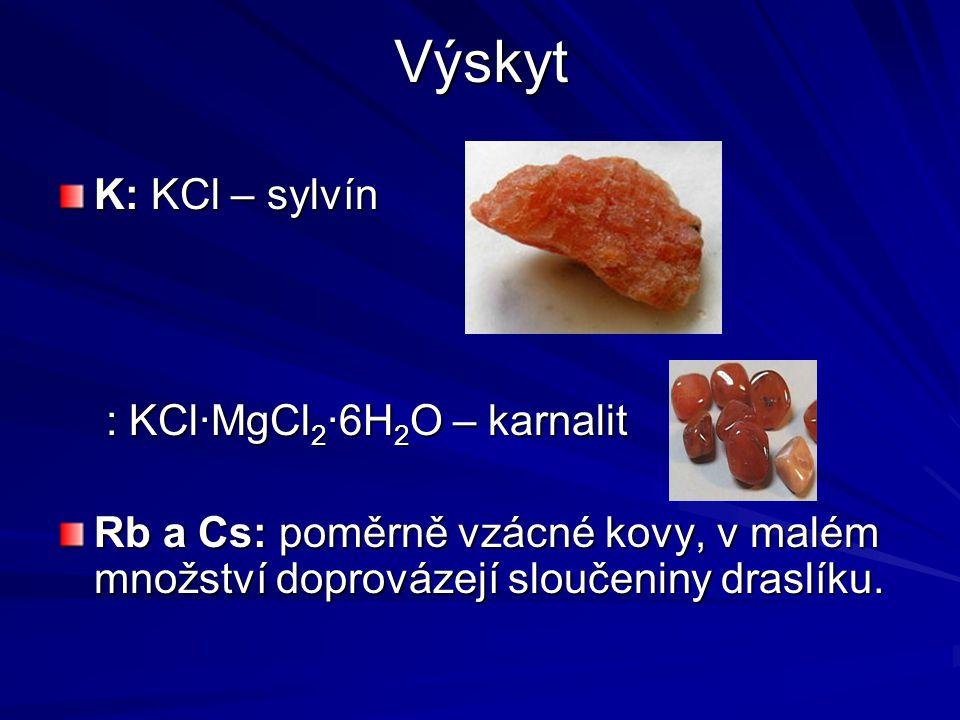 Výskyt K: KCl – sylvín : KCl·MgCl2·6H2O – karnalit