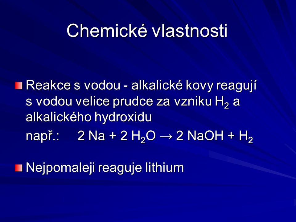 Chemické vlastnosti Reakce s vodou - alkalické kovy reagují s vodou velice prudce za vzniku H2 a alkalického hydroxidu.