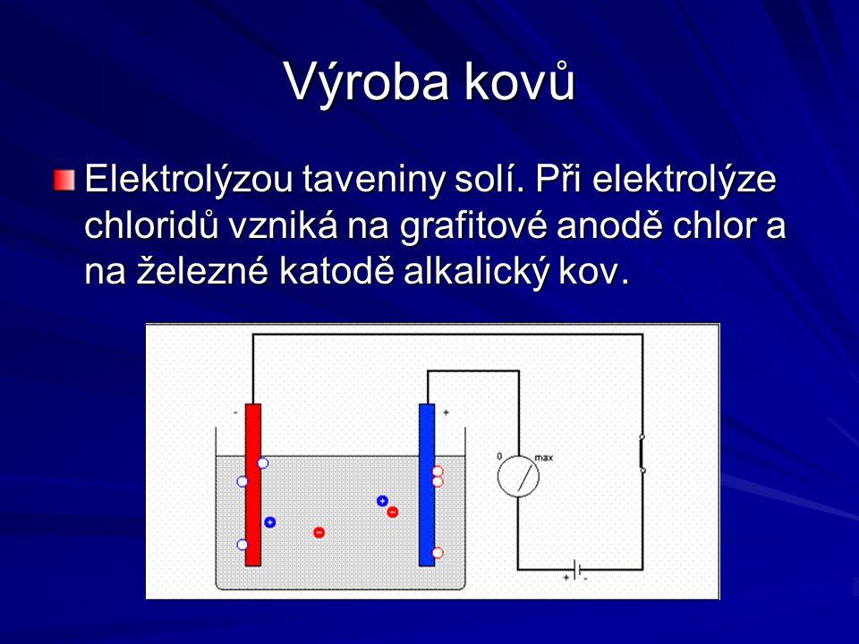 Výroba kovů Elektrolýzou taveniny solí.