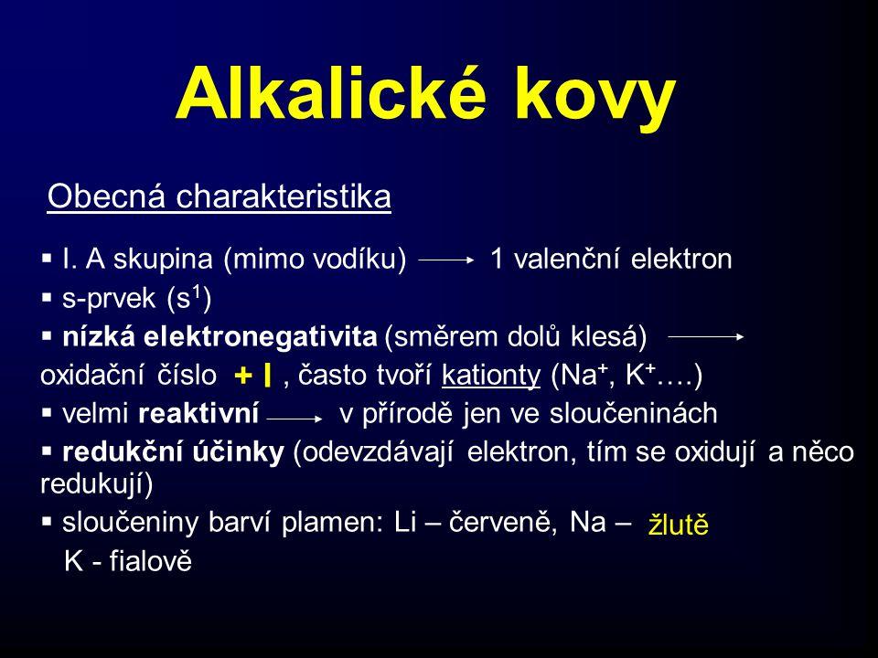 Alkalické kovy Obecná charakteristika + I