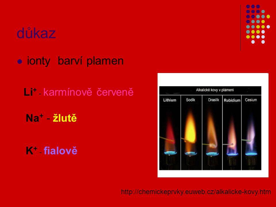 důkaz ionty barví plamen Li+ - karmínově červeně Na+ - žlutě