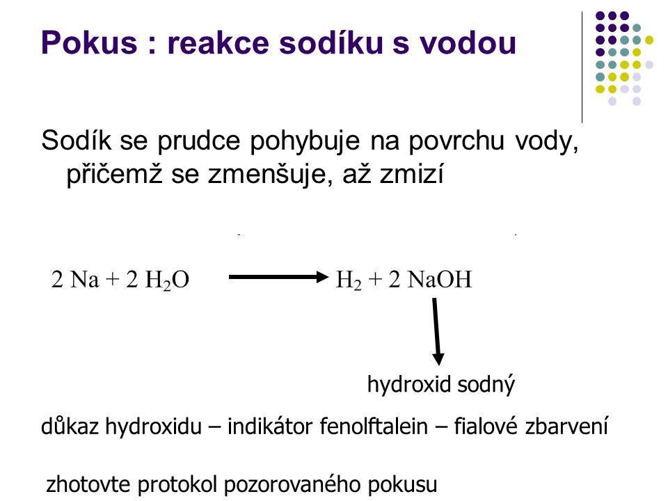 Pokus : reakce sodíku s vodou