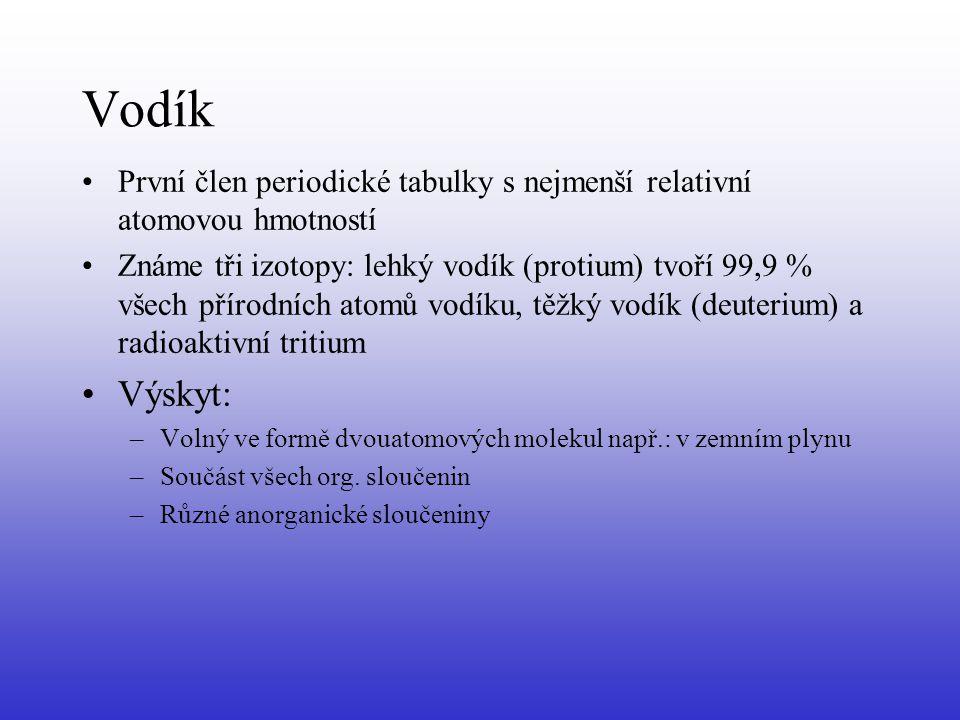 Vodík První člen periodické tabulky s nejmenší relativní atomovou hmotností.