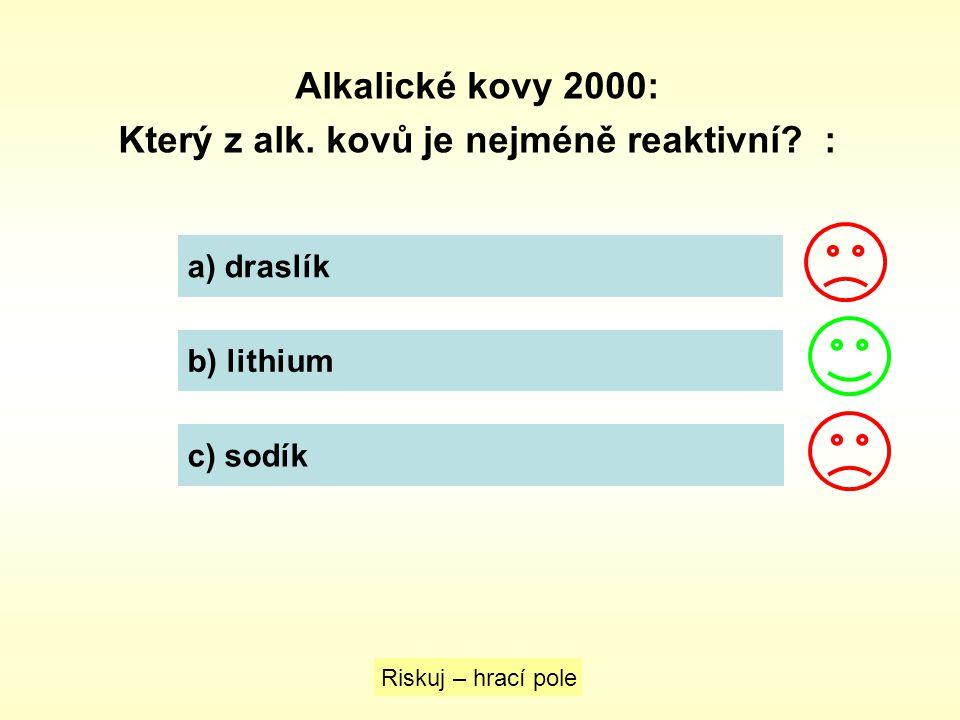 Který z alk. kovů je nejméně reaktivní :