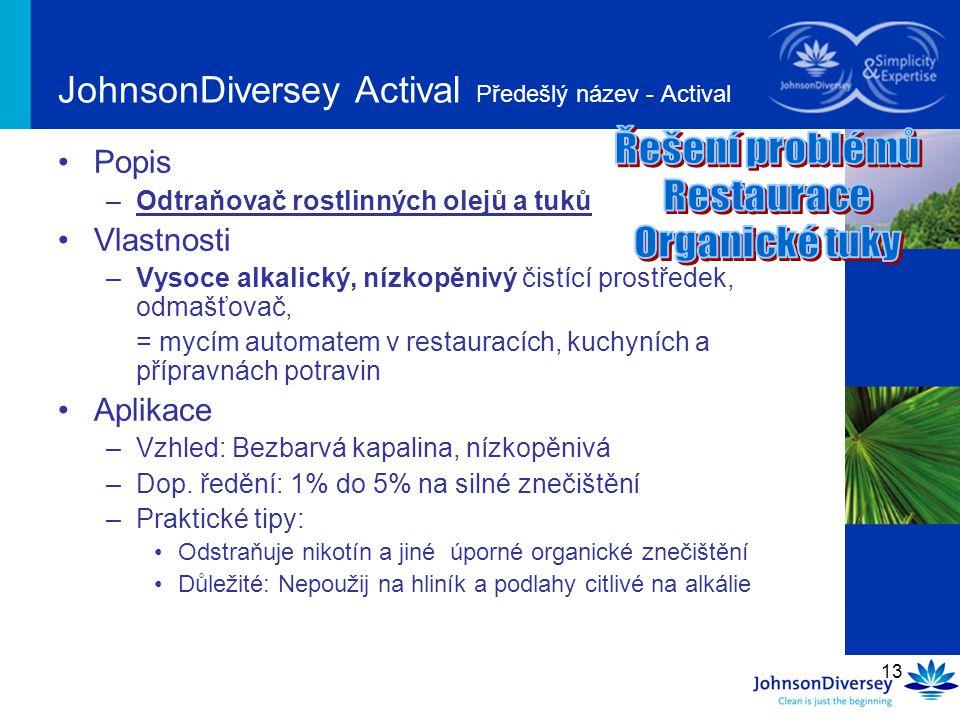 JohnsonDiversey Actival Předešlý název - Actival