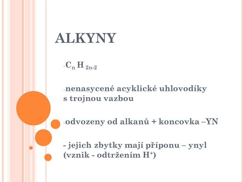 ALKYNY Cn H 2n-2 nenasycené acyklické uhlovodíky s trojnou vazbou