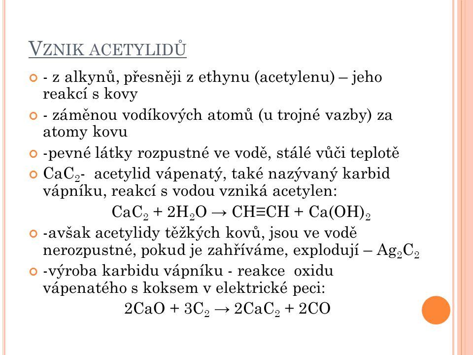 Vznik acetylidů - z alkynů, přesněji z ethynu (acetylenu) – jeho reakcí s kovy. - záměnou vodíkových atomů (u trojné vazby) za atomy kovu.
