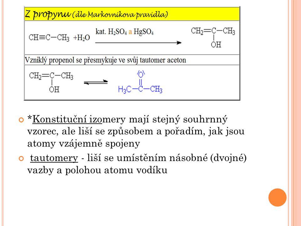 *Konstituční izomery mají stejný souhrnný vzorec, ale liší se způsobem a pořadím, jak jsou atomy vzájemně spojeny