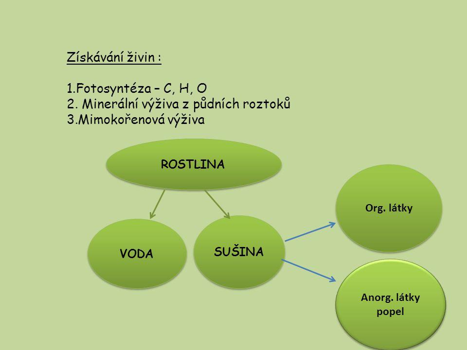 Minerální výživa z půdních roztoků Mimokořenová výživa