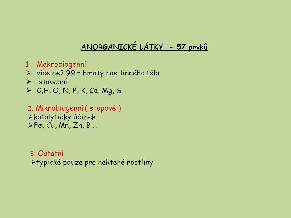 ANORGANICKÉ LÁTKY - 57 prvků