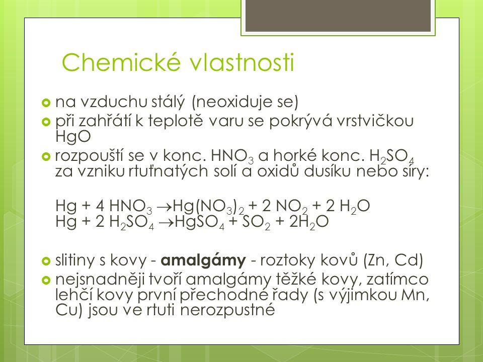 Chemické vlastnosti na vzduchu stálý (neoxiduje se)