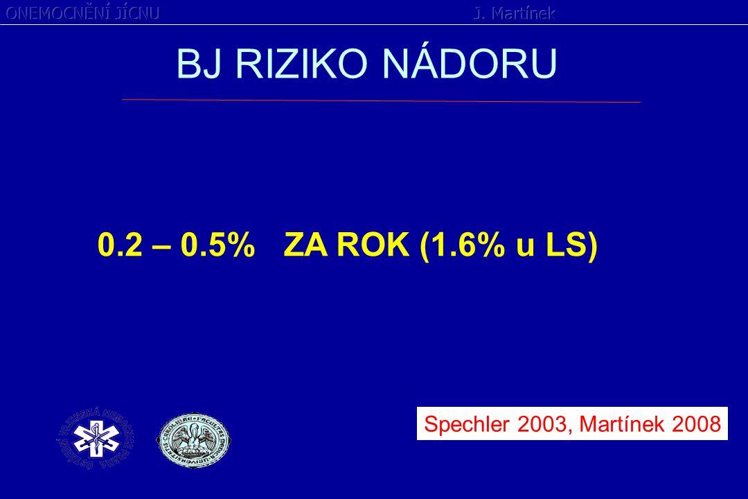 BJ RIZIKO NÁDORU 0.2 – 0.5% ZA ROK (1.6% u LS)
