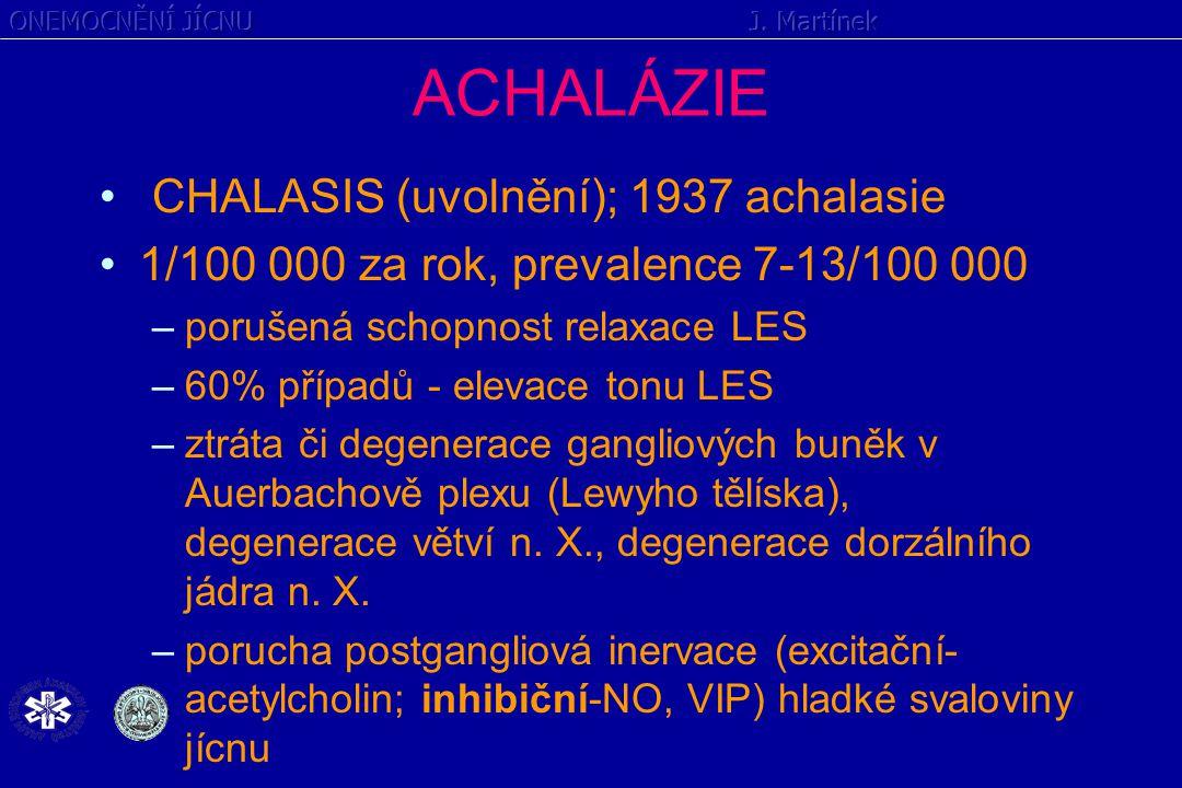 ACHALÁZIE CHALASIS (uvolnění); 1937 achalasie