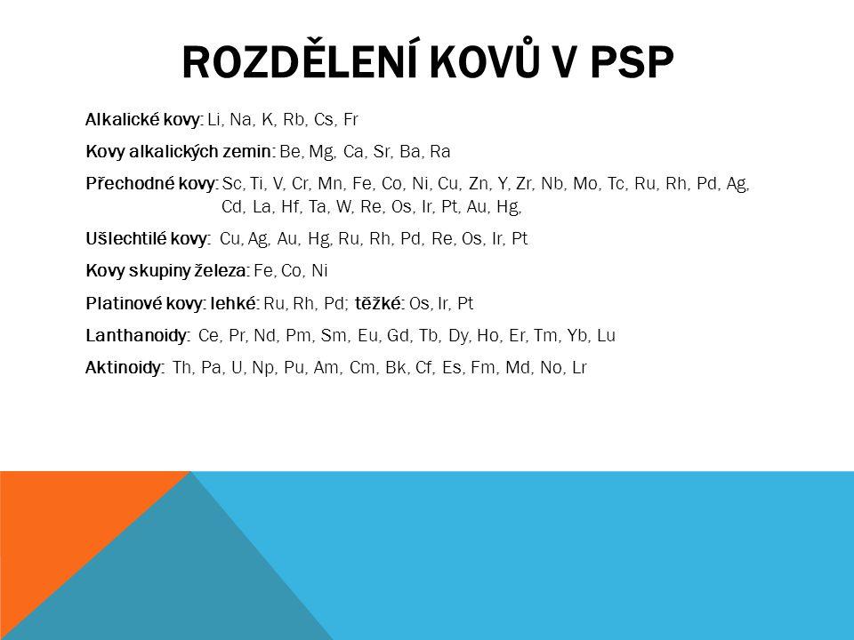 Rozdělení kovů v PSP