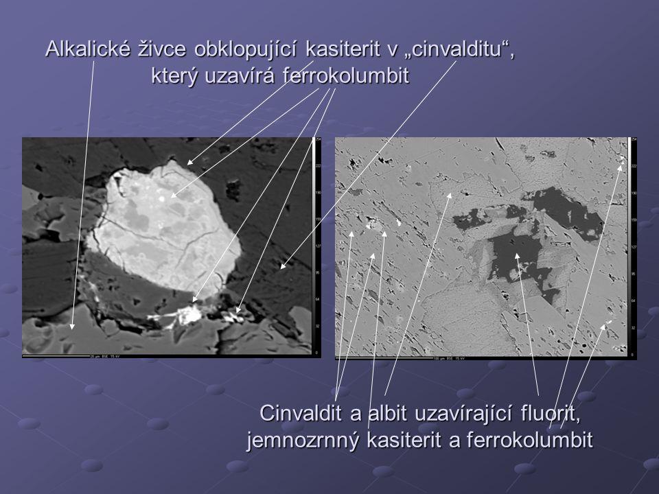 """Alkalické živce obklopující kasiterit v """"cinvalditu , který uzavírá ferrokolumbit"""