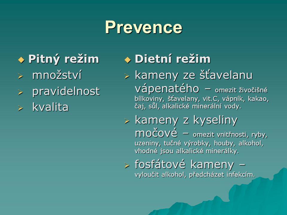 Prevence Pitný režim množství pravidelnost kvalita Dietní režim