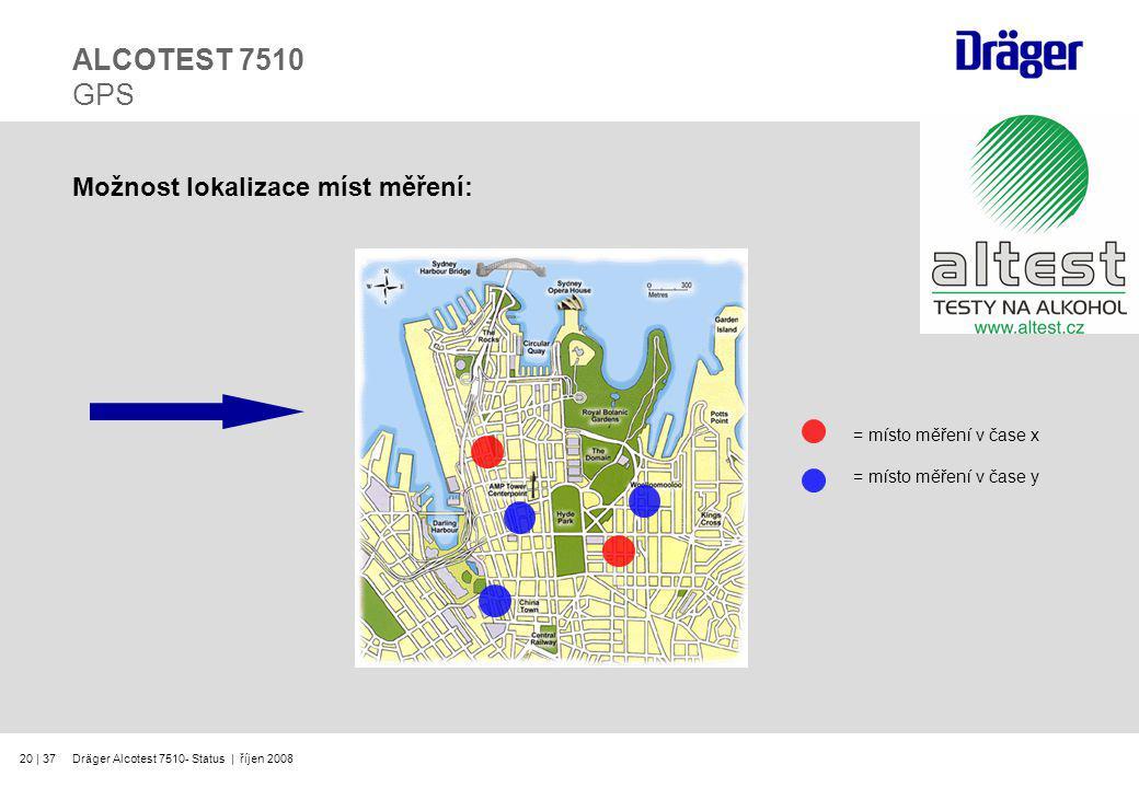 ALCOTEST 7510 GPS Možnost lokalizace míst měření: