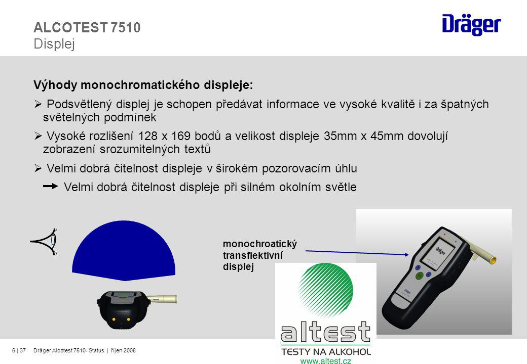 ALCOTEST 7510 Displej Výhody monochromatického displeje: