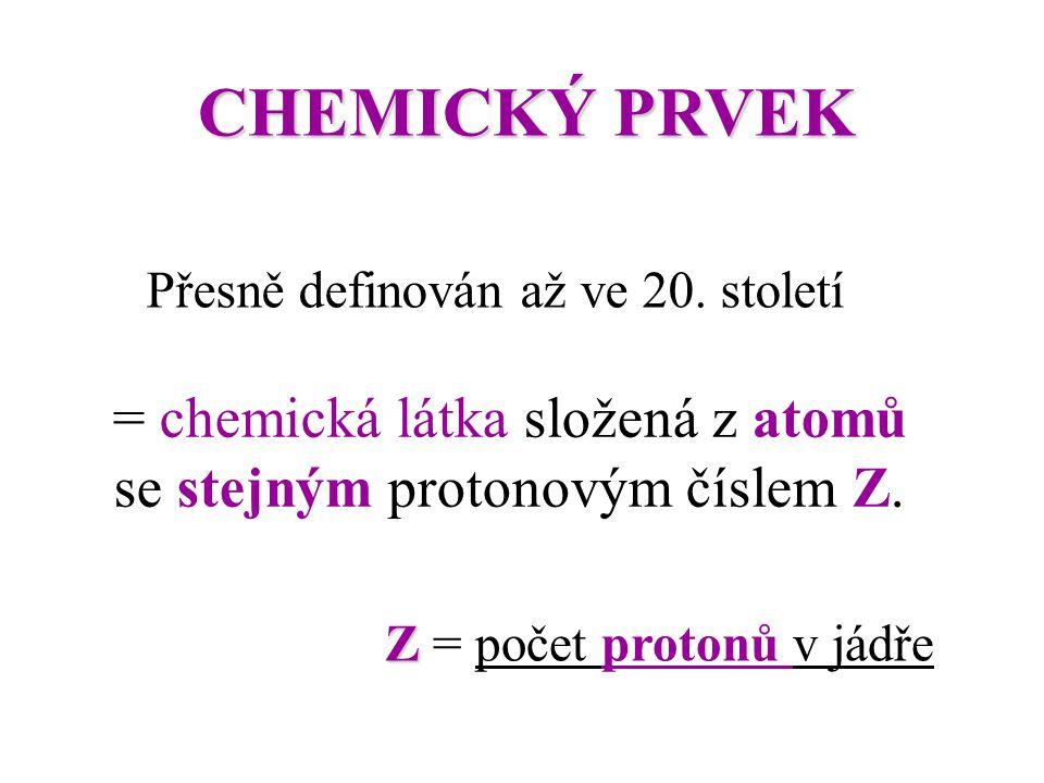 = chemická látka složená z atomů se stejným protonovým číslem Z.