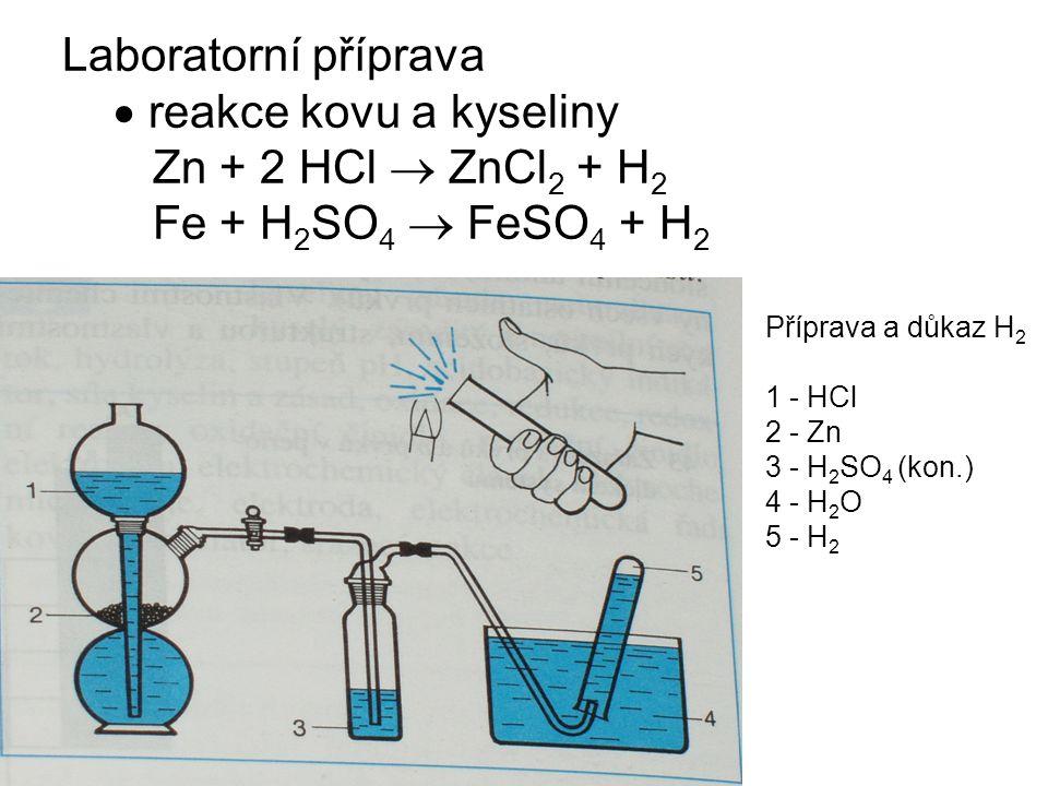  reakce kovu a kyseliny Zn + 2 HCl  ZnCl2 + H2