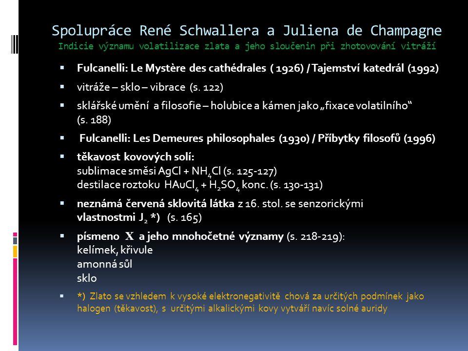 Spolupráce René Schwallera a Juliena de Champagne Indicie významu volatilizace zlata a jeho sloučenin při zhotovování vitráží