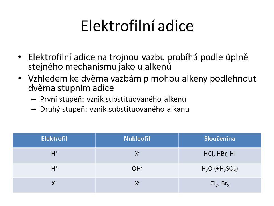 Elektrofilní adice Elektrofilní adice na trojnou vazbu probíhá podle úplně stejného mechanismu jako u alkenů.
