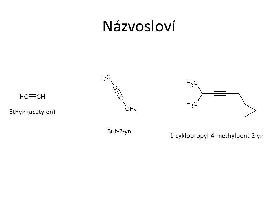 Názvosloví Ethyn (acetylen) But-2-yn 1-cyklopropyl-4-methylpent-2-yn
