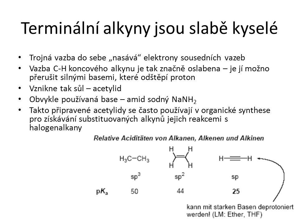 Terminální alkyny jsou slabě kyselé