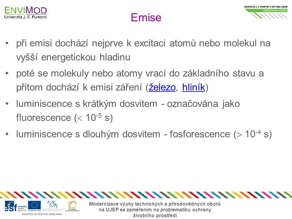 Emise při emisi dochází nejprve k excitaci atomů nebo molekul na vyšší energetickou hladinu.