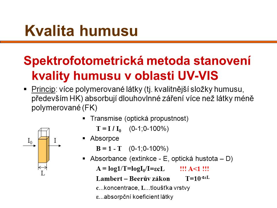 Kvalita humusu Spektrofotometrická metoda stanovení kvality humusu v oblasti UV-VIS.