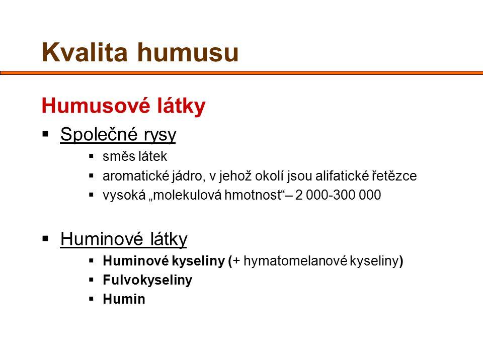 Kvalita humusu Humusové látky Společné rysy Huminové látky směs látek