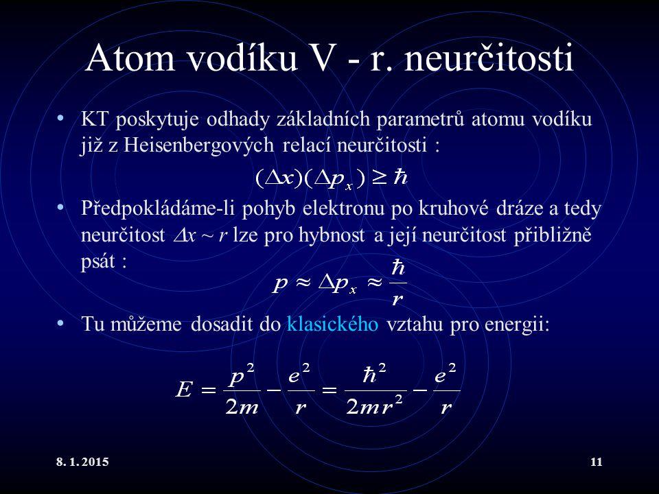 Atom vodíku V - r. neurčitosti