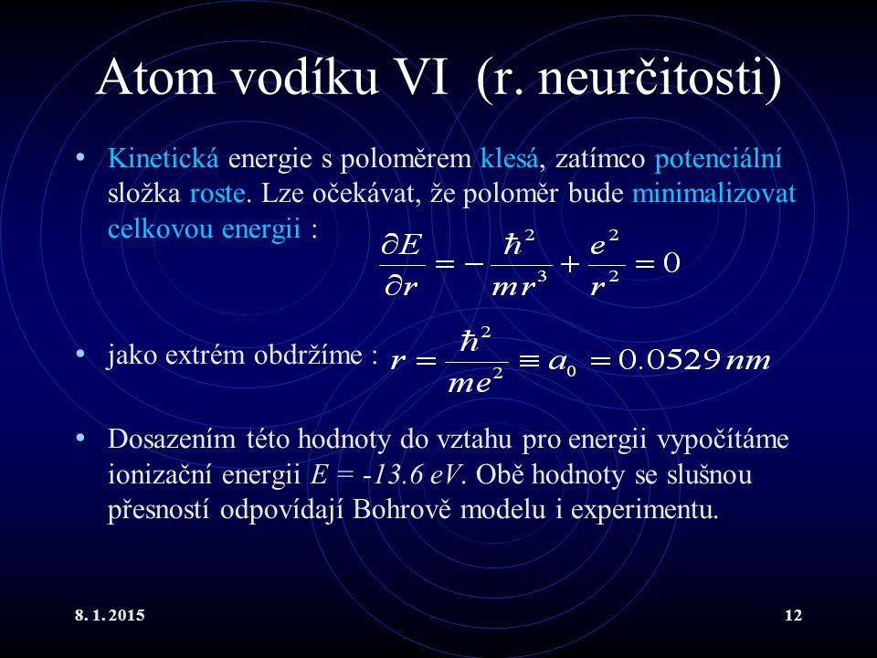 Atom vodíku VI (r. neurčitosti)