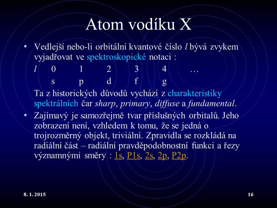 Atom vodíku X Vedlejší nebo-li orbitální kvantové číslo l bývá zvykem vyjadřovat ve spektroskopické notaci :