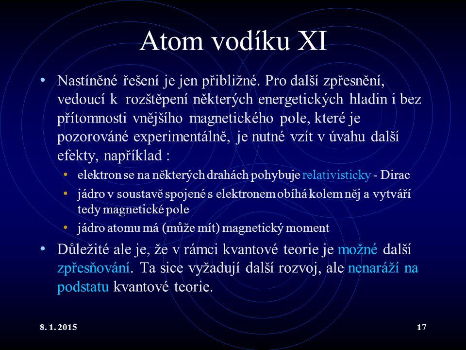 Atom vodíku XI